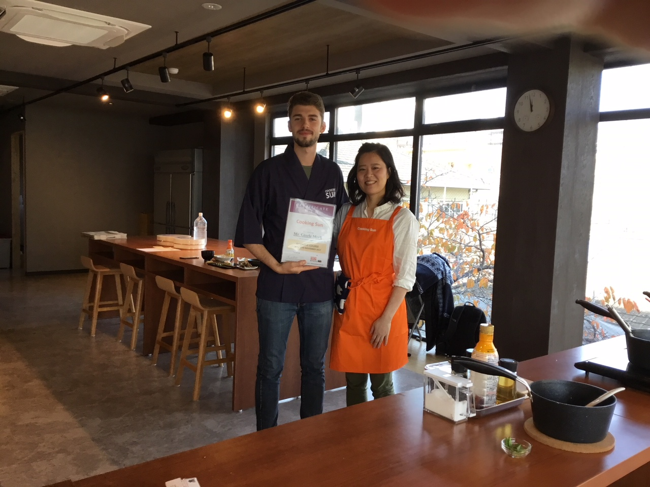 Japanese cooking school certificate